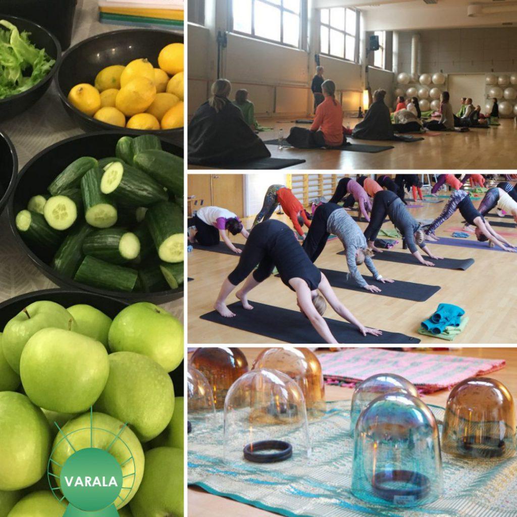 joogaa, terveellistä ravintoa, rentoutumista