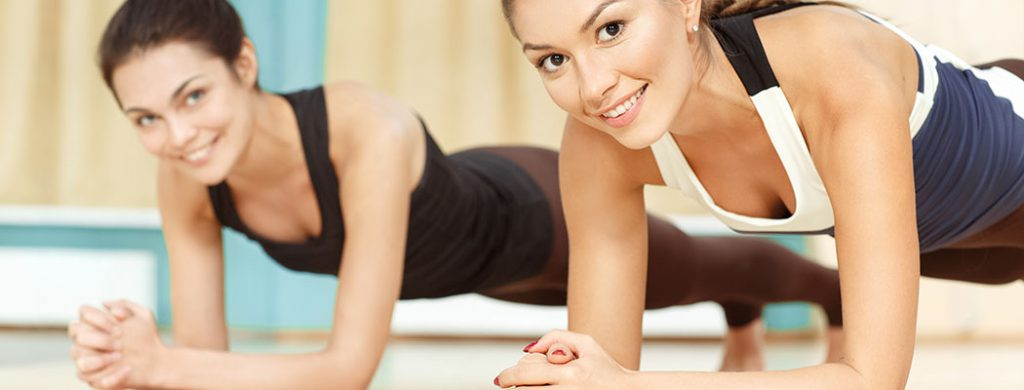 Two women's Fitness Workout